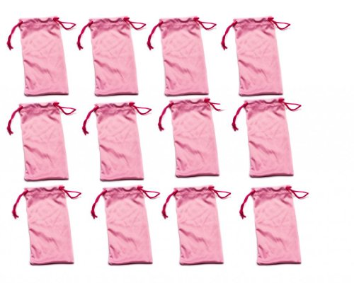 Twelve (12) PINK Microfiber Cleaning and Storage Pouch / Sack / Cases for Sunglasses and Eyeglasses (Microfiber Bag Pink)