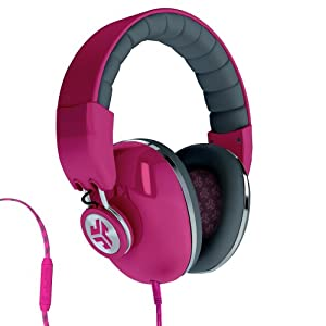 JLab Audio Bombora Over the Ear Headphones with Universal Mic - Passion Fruit Pink / Grigio Gray