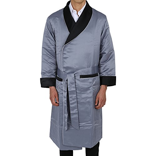 Duke & Digham Men's Long Heavyweight Satin Robe Grey Black Collar Large