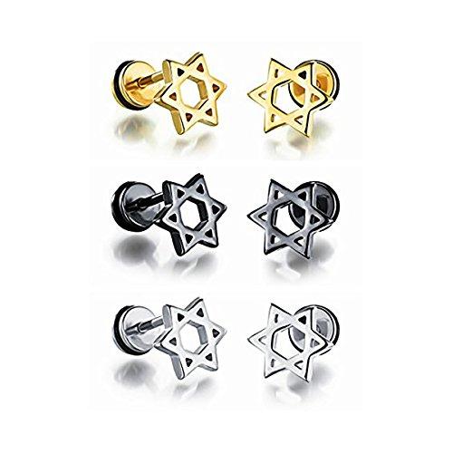 - 3 Pair Stainless Steel Star of David Round Barbell Screw Stud Earrings Set