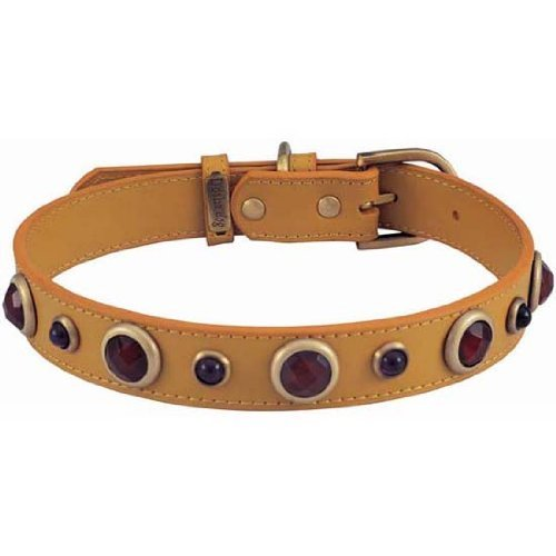 Carnelian Imperial Yellow Leather Dog Collar - Extra Large