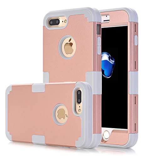 iPhone 7 Plus Case, Asstar 3 in 1 Hard PC+ Soft TPU Impact Protection Heavy Duty Shockproof Full-Body Protective Case for Apple iPhone 7 Plus (Rose gold)