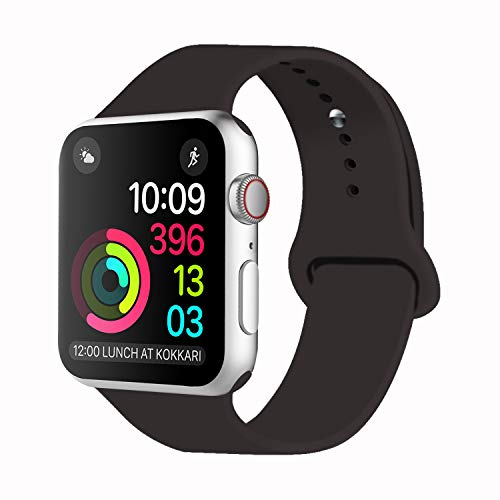 Idon Sport Watch Band, Soft Silicone Replacement Sports Band Compatible with Smart Watch Band 2018 Series 4/3/2/1 38MM 40MM 42MM 44MM for Smart Watch All Models(Cocoa,42MM M/L)