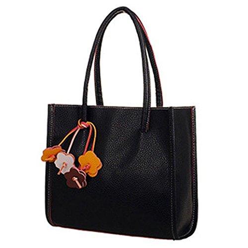 Women's Bag Black Handbag Leather Colors Solid Sweet Faux Zipper Shoulder meizu88 Candy Oq7dzOR