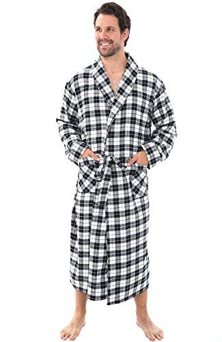 Del Rossa Mens Flannel Robe, Soft Cotton Bathrobe, Large Black and White Tartan Plaid (Flannel Robe)