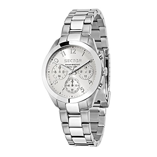 SECTOR Women's 120 Analog-Quartz Sport Watch with Stainless-Steel Strap, Silver, 18 (Model: R3253588502