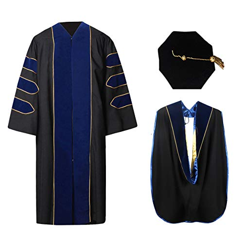 Deluxe Doctoral Graduation Gown Hood and 8-Sided Tam Package Royal Blue