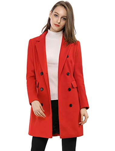 Allegra K Women's Long Jacket Notched Lapel Double Breasted Trench Coat S Reds