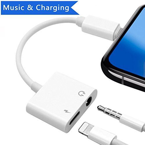 Price comparison product image Lighting Jack Adaptor Headphone Adapter for iPhone 7/7 Plus/iPhone 8/8 Plus/iPhone X 10/iPad/iPod. Dual Earphone Splitter Charging and Aux Audio. Supports the latest IOS systems - White