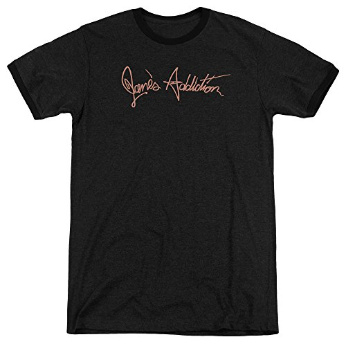 Jane's Addiction - Script Logo - Adult Ringer T-Shirt - Medium