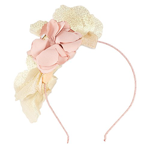 FRILLS Metallic Baby Girl Hairband with Flowers, Gold and Blush Accessories a Perfect Crown for your Toddler (Flapper Makeup Kit)