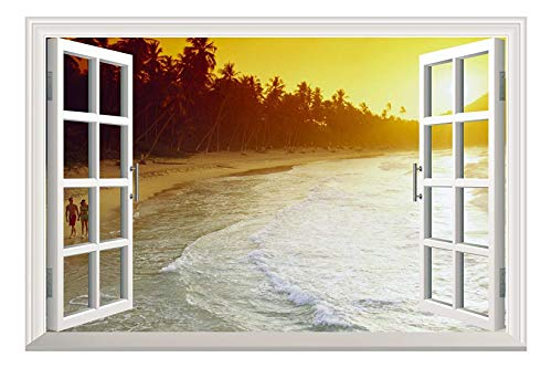 Beach Waves with Sunset and Palm Trees Open Window Mural Wall Sticker