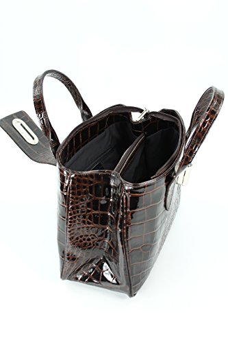 Vernice Top Marrone b 18 Pelle X Cm Handbag B Belli T Satchel Classica 25 X 36 Coccodrillo Vera Scuro 8wqRYd4