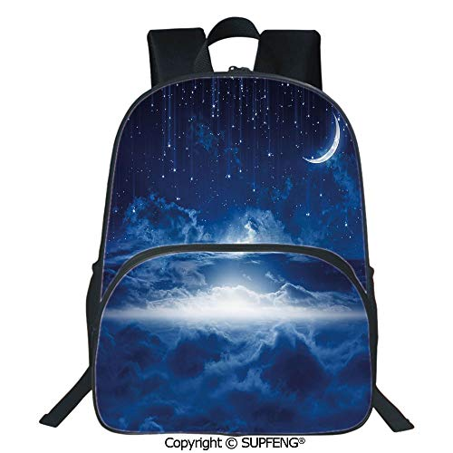 SCOXIXI Laptop Backpack Heavenly Majestic Galaxy View Falling Stars Celestial Magical Cosmos Decorative (15.75