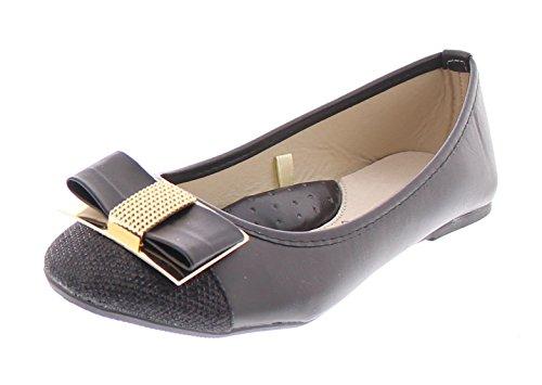 Gold Toe Women's Ursula Shiny Metallic Studded Bow Slip On Ballet Flat Round Toe Dress Flat Pump Shoes Black 8 (Black Ballet Pumps)