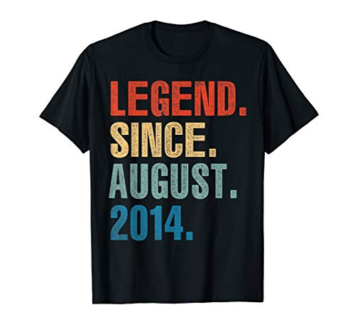 Legend Since August 2014 5th Birthday 5 Years Old Shirt Gift