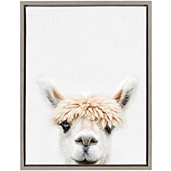 Kate and Laurel Sylvie Alpaca Bangs Animal Print Portrait Framed Canvas Wall Art by Amy Peterson, 18x24 Gray