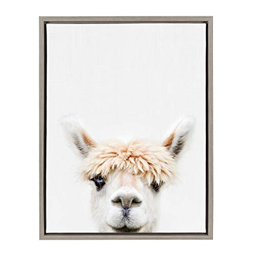 Kate and Laurel Sylvie Alpaca Bangs Animal Print Portrait Framed Canvas Wall Art by Amy Peterson, 18×24 Gray