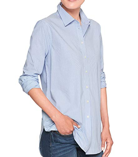 Banana Republic Womens Boyfriend Fit Button Down Tunic Shirt Blouse Blue White Striped (Medium)