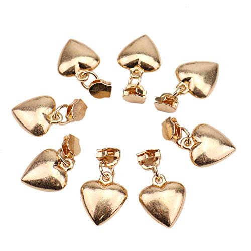 JETEHO 40 Pack Gold Size 3 Heart Shape Zipper Sliders Zipper Head Pulls Zipper Replacement Repair Kit for Clothes Jacket - Zipper Pull Gold