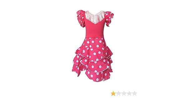 La Senorita Vestido Ropa Flamenco Niño Lujo Español Traje de Flamenca Chica/niños Rosa Blanco: Amazon.es: Ropa y accesorios