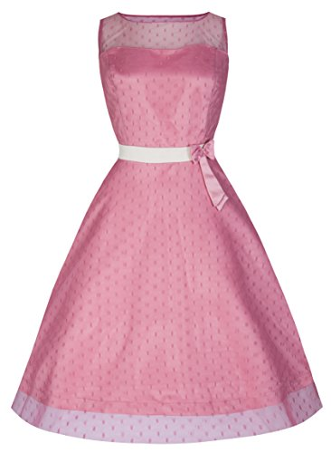 Lindy Bop Dolly Elegant 50s Vintage Style PromBridesmaid Dress (XS Dusty Pink)