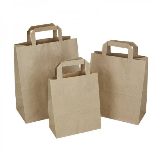 Papiertragetaschen, braun, klein–(17,8x 21,6x 8,9cm)–100 Stück