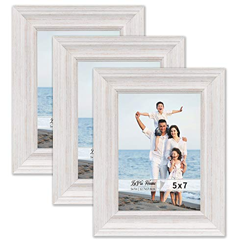 LaVie Home 5x7 Picture Frames (3 Pack, Distressed White Wood Grain) Rustic Photo Frame Set with High Definition Glass for Wall Mount & Table Top Display, Set of 3 Elite Collection
