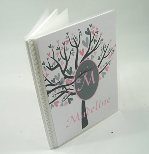 Baby Photo Album IA#029 4x6 or 5x7 Pictures Personalized Photo Book Pink Gray Tree by JaDazzles