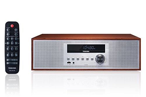 Toshiba TY-CWU700 Vintage Style Retro Look Micro Component Wireless Bluetooth Audio Streaming & CD Player Wood Speaker System + Remote, USB Port for MP3 Playback, FM Stereo Digital Tuner, AUX ()