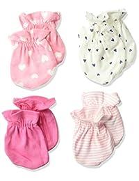 Gerber Baby Girls 4-Pack Mittens, Fox, 0-3 Months