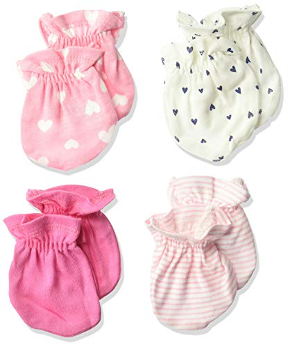 Gerber Baby Girls' 4-Pair Mittens, Fox, 0-3 Months