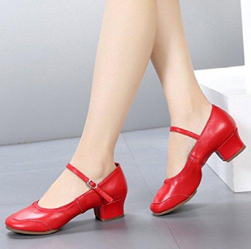 PDFGO Primo Strato Di Cuoio Femmina Fondo Morbido Scarpe Da Ballo Fitness Scarpe Quadrate Quattro Stagioni Scarpe Basse In Pelle Scarpe Da Ballo,Red-36
