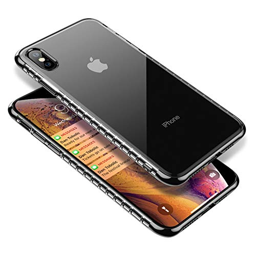 for iPhone Xs Max Case Clear, Slim Thin Silicone Protective Armor for Women Men, Full Body Shockproof Cute Transparent Soft TPU with Plated Bumper Back Case Cover for i-Phone Xs Max 6.5 Inch, Black