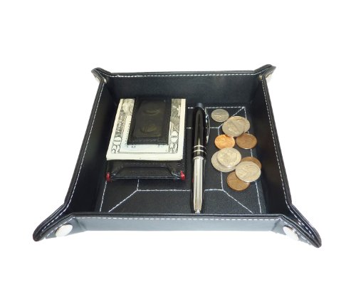 Black Leather Mens Jewelry Catchall Key Wallet Coin Box