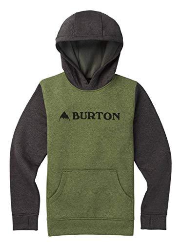 Burton Boys Oak Pullover Hoodie Clover Heather/True Black Heather, X-Large - Jacket Burton Hooded Fleece