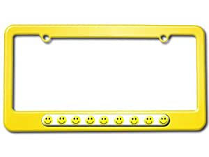 Smiley Faces - Happy Face - Funny License Plate Tag Frame - Color Yellow