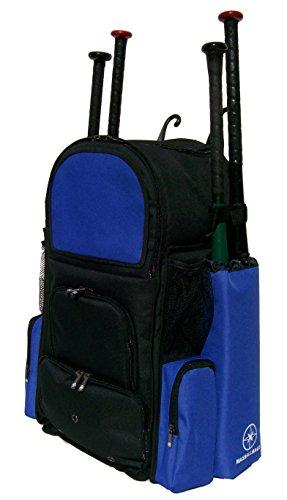 Black and Royal Blue Vista L Adult Softball Baseball Bat Equipment Backpack by MAXOPS
