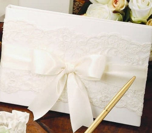 Chantilly Lace White Guest Book with White Satin Ribbon Beverly Clark Wedding ()