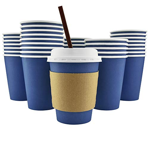 - 100 Pack - 12 Oz [8, 16, 20] [4 Colors] Disposable Hot Paper Coffee Cups, Lids, Sleeves, Stirring Straws - Deep Blue [Mocha Brown, Clean White, Cranberry Red]