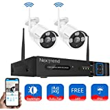 Wireless Security Camera System, NexTrend 4CH Wireless NVR Security Camera System with 2pcs 960P Outdoor IP Security Camera, 65ft Night Vision, No Hard Drive, Free Remote View