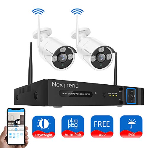 Cheap Security Camera System Wireless, NexTrend 4CH HD Home Security Camera System with 2pcs WiFi Security Camera, 65ft Night Vision and Motion Detection, No Hard Drive, Easy Operation