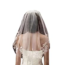 Scarlett Womens New 1 Tier Tulle Lace Appliques Short Wedding Bridal Veil with Comb