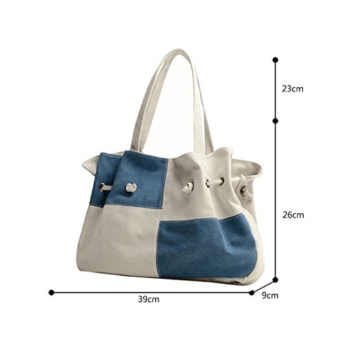 Multifuncional Tote Para Color Casual Bolsos Bandolera Shoppers Azul Mujer Bolso Golpe De Wewod Grande Totalizador Hombro Moda Lona qxC4anwZ