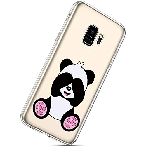 Herbests Compatible with Samsung Galaxy S9 Flower Case Girls Men Clear Design Thin Slim Fit Soft Flexible Crystal Transparent Silicone Rubber TPU Back Cover,Panda
