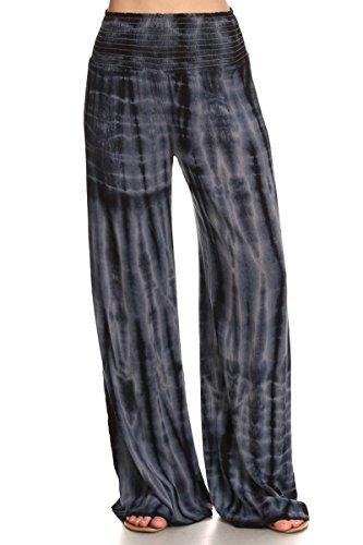 HEYHUN Womens Palazzo Pants Tie Dye Boho Gauze Casual & Lounge Wide Leg Bottoms - Grey Black - XLarge -