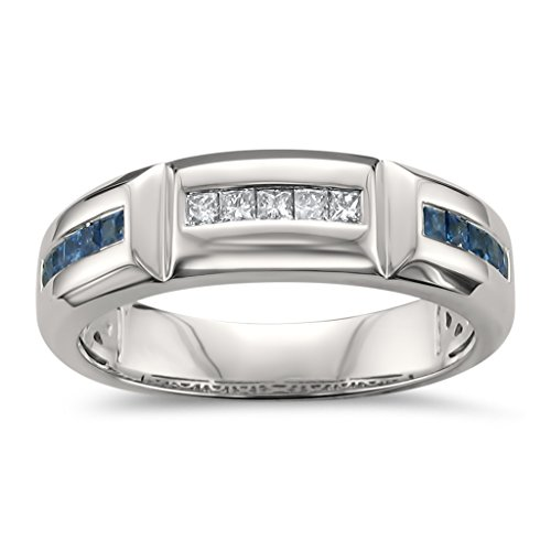 La4ve Diamonds 14k White Gold Princess-Cut Diamond & Blue Sapphire Men's Wedding Band Ring (5/8 cttw, I-J, SI2-I1), Size 10 (Diamond Princess Cut Mens Ring)