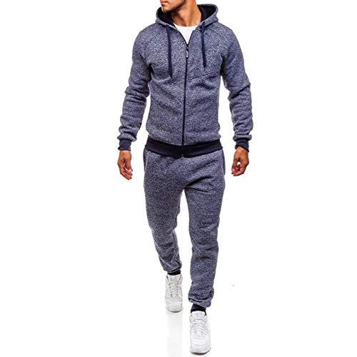 Limsea 2018 Men's Autumn Winter Patchwork Sweatshirt Top Pants Sets Sports Suit Tracksuit(Blue,L)