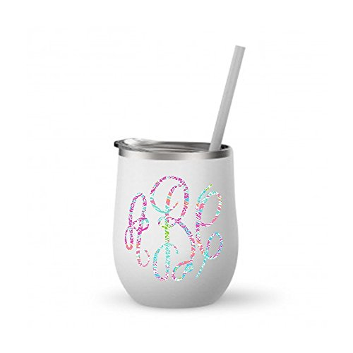 (Monogrammed Stainless Steel Wine Tumbler w/Lilly Inspired Vinyl Decal / 12 oz White/Personalized with your initials)