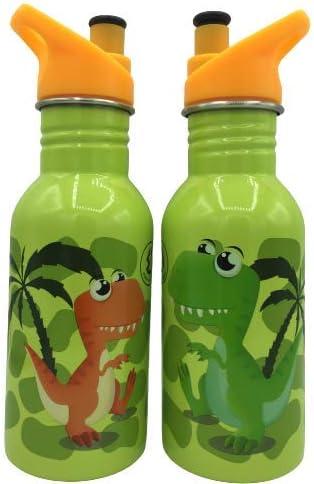 WR Botella de Agua de Acero Inoxidable con Aislamiento al vacío Botella de Bebida de Doble Pared 500ml (Verde-Dino)